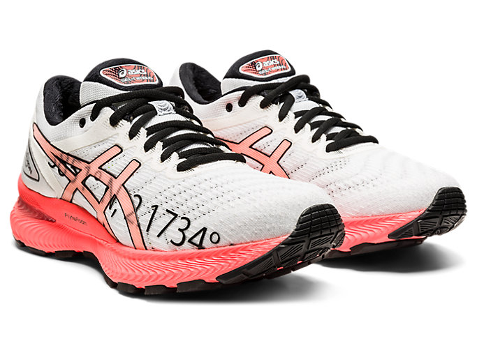 Front Right view of GEL-NIMBUS 22, WHITE/FLASH CORAL