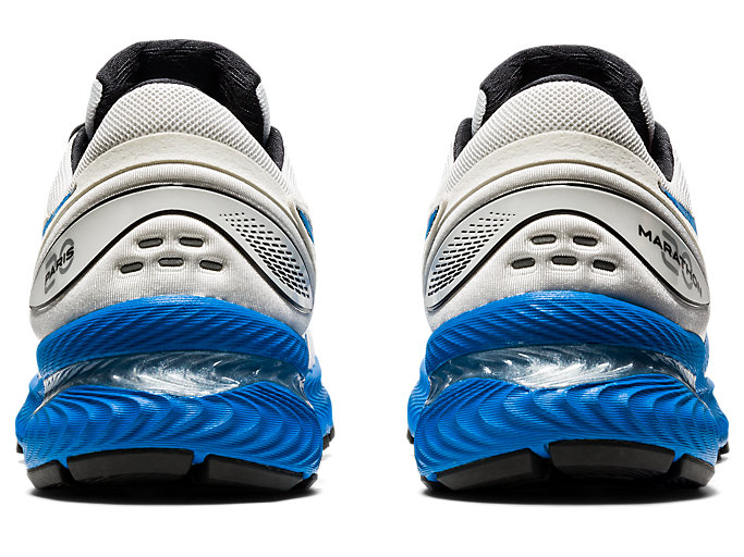 Back view of GEL-NIMBUS 22, WHITE/ELECTRIC BLUE