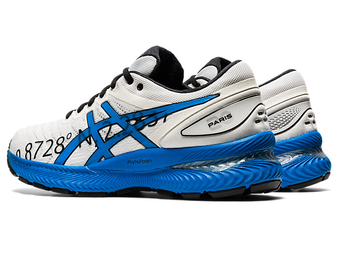 Front Left view of GEL-NIMBUS 22, WHITE/ELECTRIC BLUE
