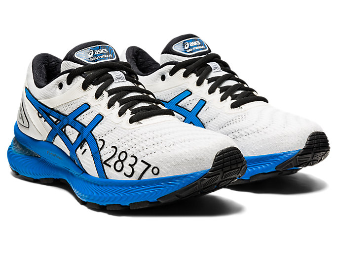 Front Right view of GEL-NIMBUS 22, WHITE/ELECTRIC BLUE