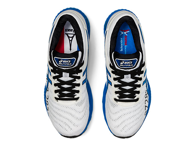 Top view of GEL-NIMBUS 22, WHITE/ELECTRIC BLUE