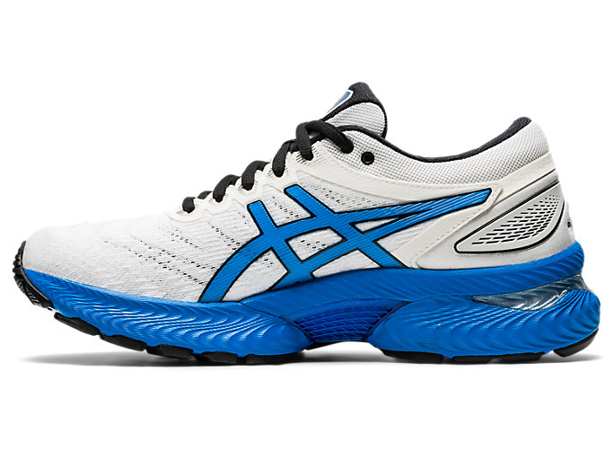 Left side view of GEL-NIMBUS 22, WHITE/ELECTRIC BLUE