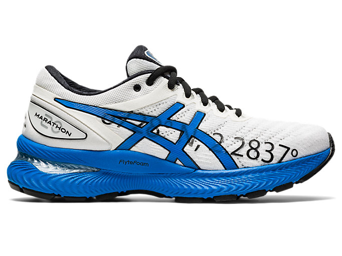 Right side view of GEL-NIMBUS 22, WHITE/ELECTRIC BLUE