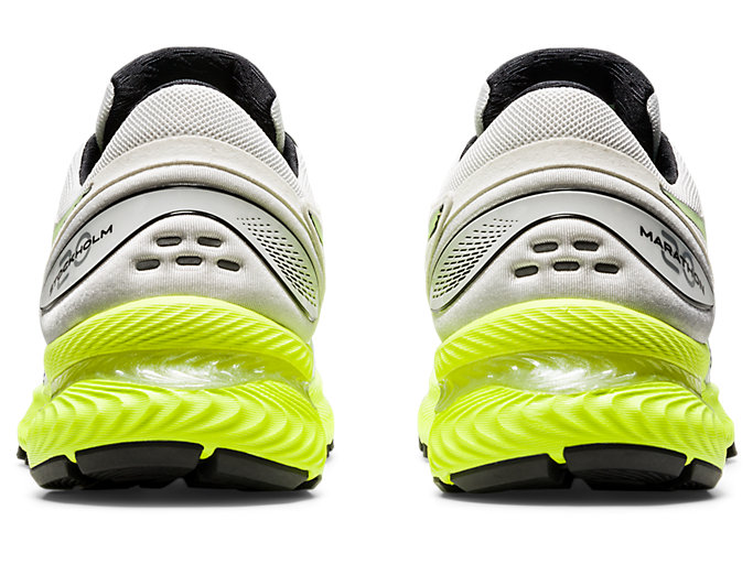 Back view of GEL-NIMBUS 22, WHITE/SAFETY YELLOW
