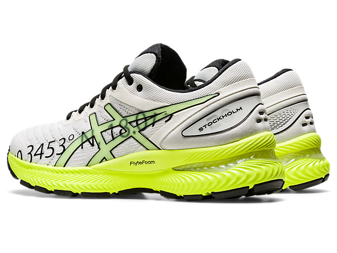 Front Left view of GEL-NIMBUS 22, WHITE/SAFETY YELLOW