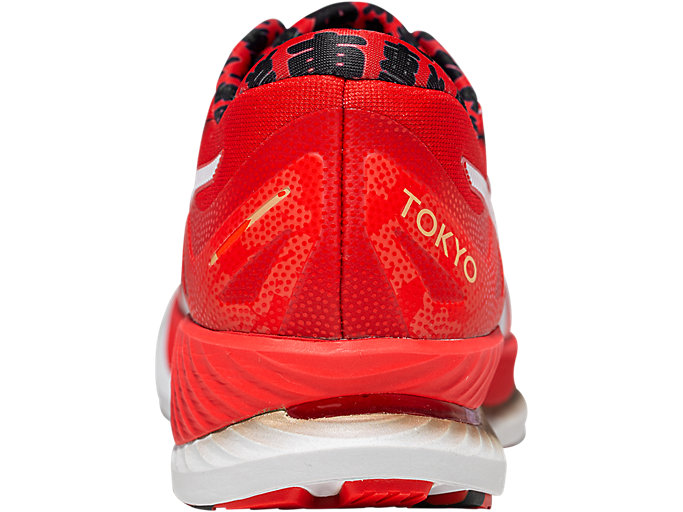 Back view of GlideRide TOKYO, WHITE/CLASSIC RED