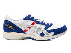 Right side view of TARTHER JAPAN, WHITE/ASICS BLUE