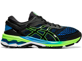 Right side view of GEL-KAYANO 26 GS, BLACK/GREEN GECKO