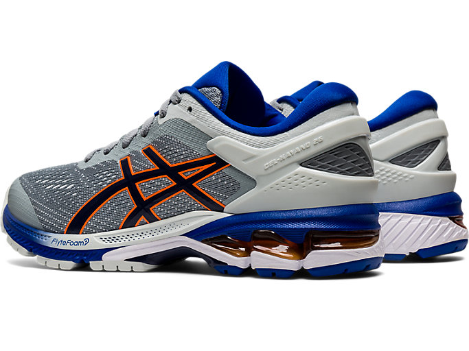 Front Left view of GEL-KAYANO 26 GS, POLAR SHADE/BLACK