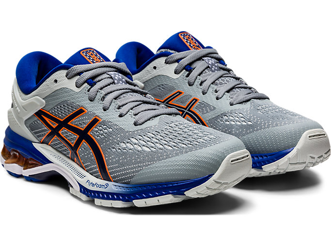 Front Right view of GEL-KAYANO 26 GS, POLAR SHADE/BLACK