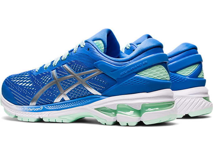Front Left view of GEL-KAYANO 26 GS, BLUE COAST/PURE SILVER