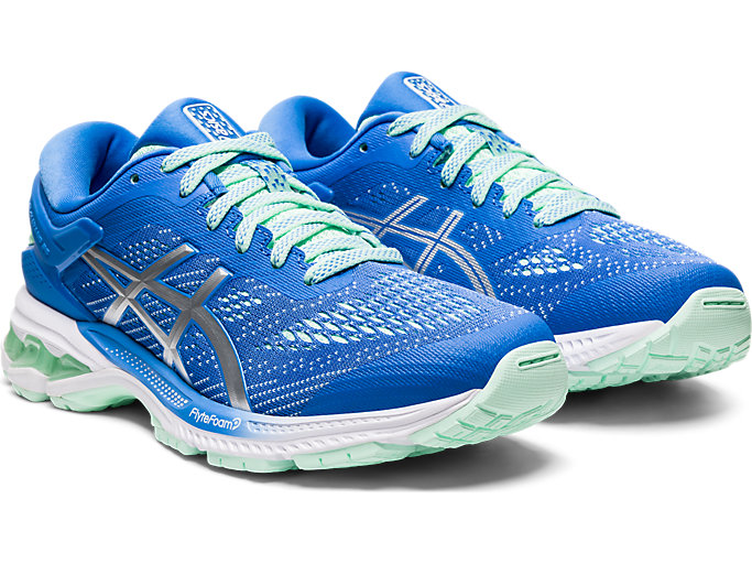 Front Right view of GEL-KAYANO 26 GS, BLUE COAST/PURE SILVER
