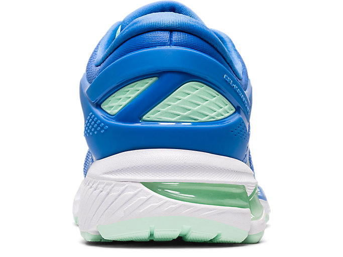 Back view of GEL-KAYANO 26 GS, BLUE COAST/PURE SILVER