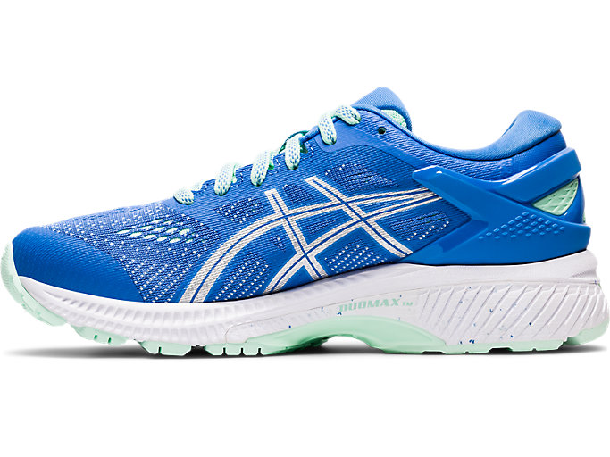 Left side view of GEL-KAYANO 26 GS, BLUE COAST/PURE SILVER