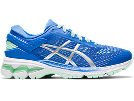 Right side view of GEL-KAYANO 26 GS, BLUE COAST/PURE SILVER
