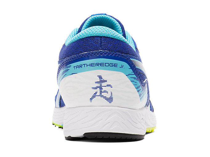 Back view of TARTHEREDGE Jr., ASICS BLUE/PURE SILVER