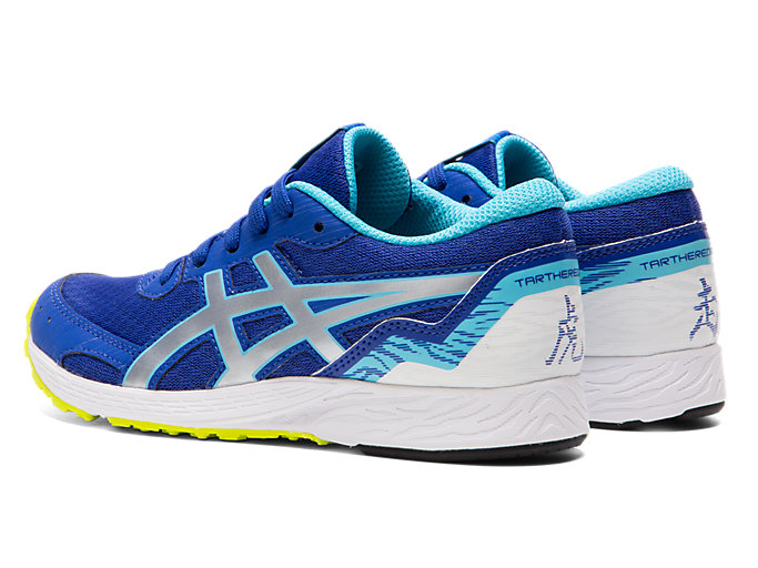 Front Left view of TARTHEREDGE Jr., ASICS BLUE/PURE SILVER