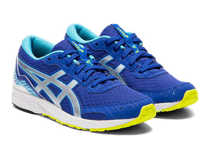 Front Right view of TARTHEREDGE Jr., ASICS BLUE/PURE SILVER