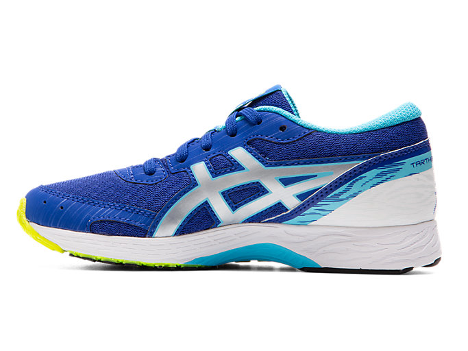 Left side view of TARTHEREDGE Jr., ASICS BLUE/PURE SILVER