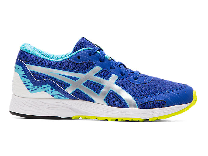 Right side view of TARTHEREDGE Jr., ASICS BLUE/PURE SILVER