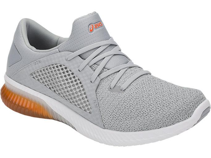 Men's GEL Kenun Knit Mid GreyLava OrangeJoggesko Mid GreyLava Orange Running Shoes