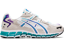 Right side view of GEL-KAYANO 5 360, WHITE/LAGOON