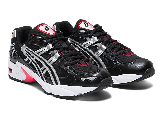 Front Right view of GEL-KAYANO™ 5 OG, BLACK/SILVER