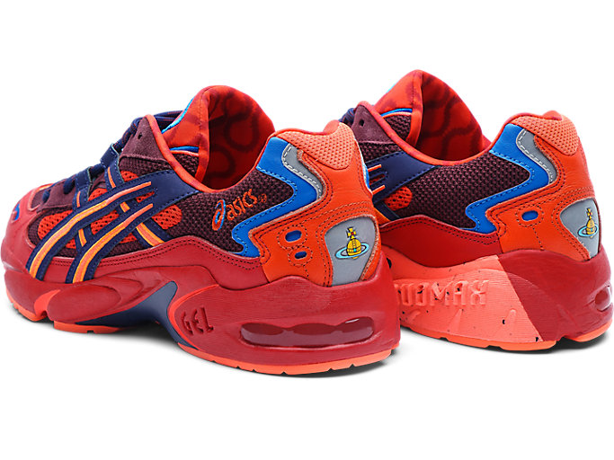 Front Left view of GEL-KAYANO 5 OG, CLASSIC RED/ELECTRIC BLUE