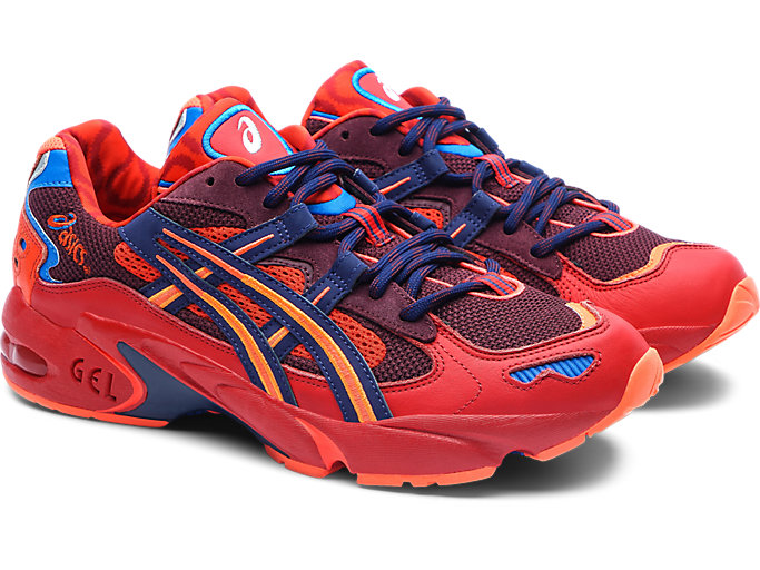 Front Right view of GEL-KAYANO 5 OG, CLASSIC RED/ELECTRIC BLUE