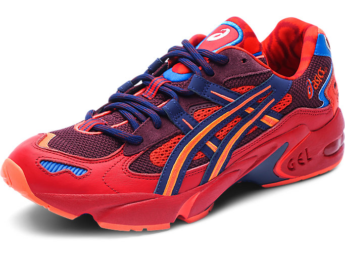 Left side view of GEL-KAYANO 5 OG, CLASSIC RED/ELECTRIC BLUE