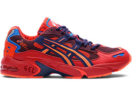 Right side view of GEL-KAYANO 5 OG, CLASSIC RED/ELECTRIC BLUE