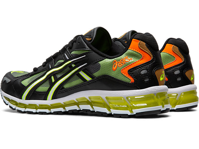 Front Left view of GEL-KAYANO 5 360, BLACK/SAFETY YELLOW