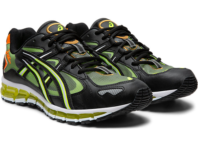 Front Right view of GEL-KAYANO 5 360, BLACK/SAFETY YELLOW