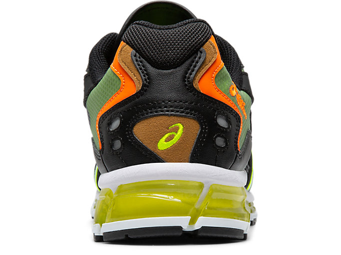 Back view of GEL-KAYANO 5 360, BLACK/SAFETY YELLOW