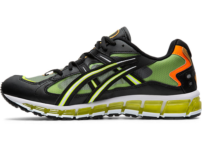 Left side view of GEL-KAYANO 5 360, BLACK/SAFETY YELLOW
