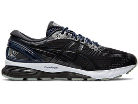 Right side view of GEL-NIMBUS 21, PERFORMANCE BLACK/MIDNIGHT