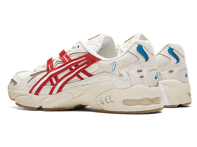 Front Left view of GEL-KAYANO 5 OG, CREAM/CLASSIC RED