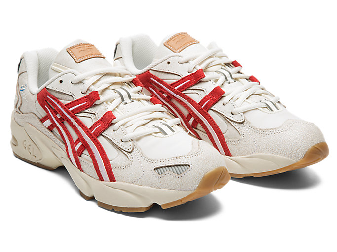 Front Right view of GEL-KAYANO 5 OG, CREAM/CLASSIC RED