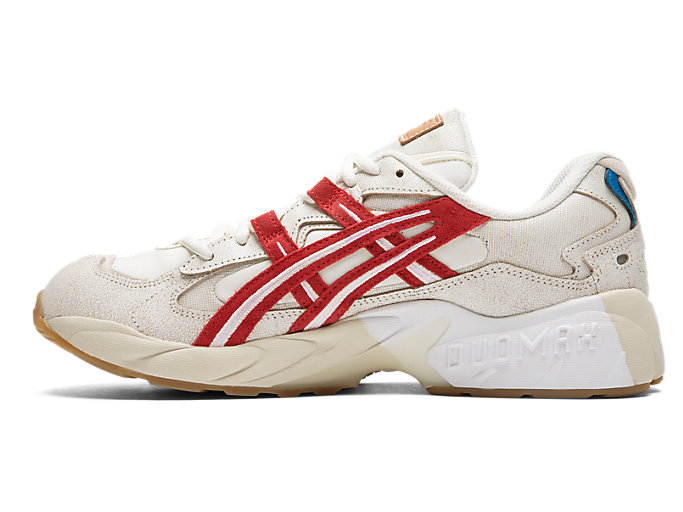 Left side view of GEL-KAYANO 5 OG, CREAM/CLASSIC RED