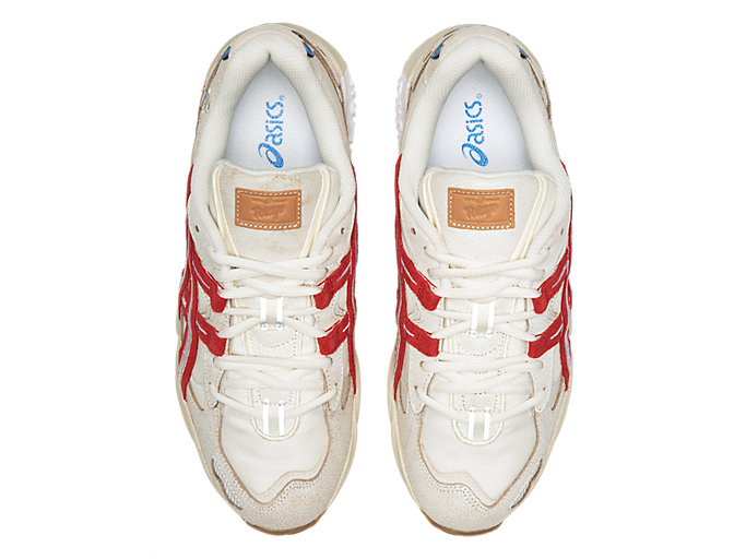 Top view of GEL-KAYANO 5 OG, CREAM/CLASSIC RED
