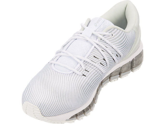 Front Left view of GEL-QUANTUM 360 4, WHITE/MID GREY