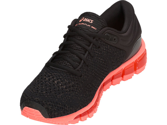 Front Left view of GEL-QUANTUM 360 KNIT 2, BLACK/SUNCORAL
