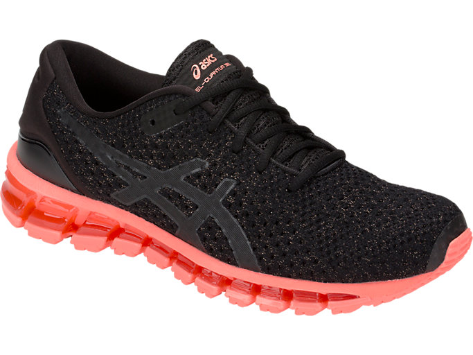 Front Right view of GEL-QUANTUM 360 KNIT 2, BLACK/SUNCORAL