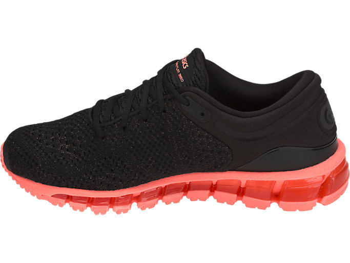 Left side view of GEL-QUANTUM 360 KNIT 2, BLACK/SUNCORAL