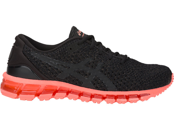 Right side view of GEL-QUANTUM 360 KNIT 2, BLACK/SUNCORAL
