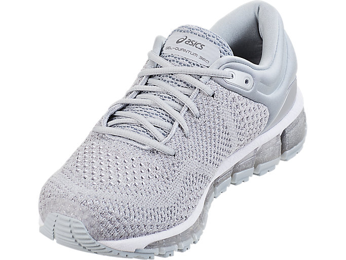 Front Left view of GEL-QUANTUM 360 KNIT 2, SILVER/DARK GREY