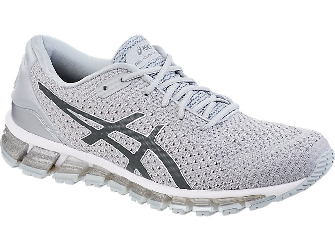 Front Right view of GEL-QUANTUM 360 KNIT 2, SILVER/DARK GREY