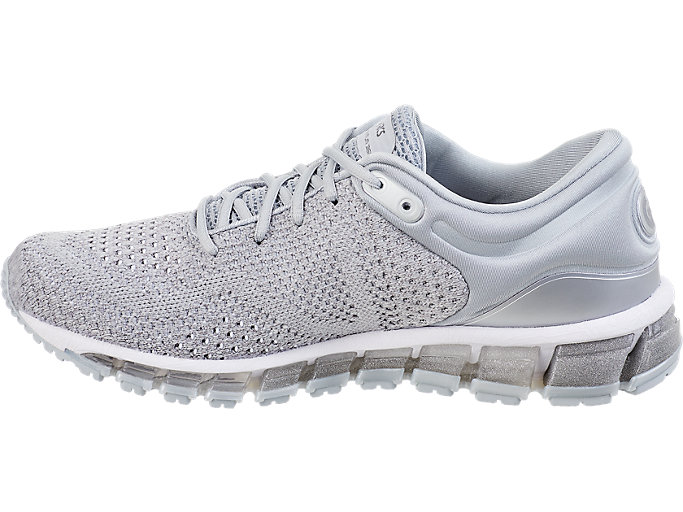 Left side view of GEL-QUANTUM 360 KNIT 2, SILVER/DARK GREY