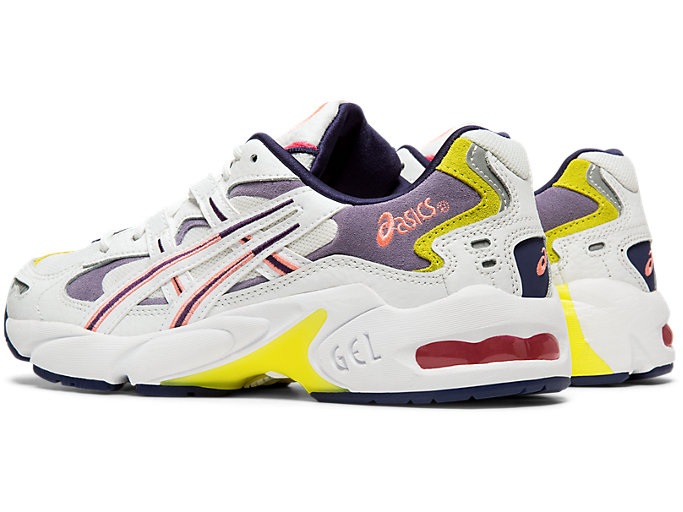 Front Left view of GEL-KAYANO™ 5 OG, WHITE/PURPLE MATTE