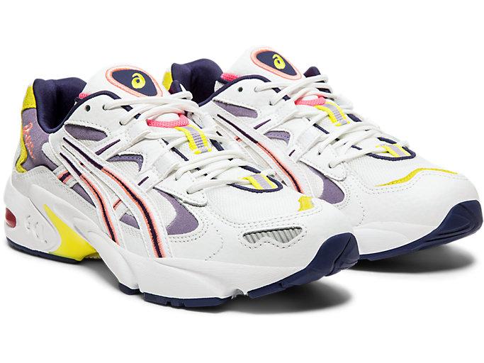 Front Right view of GEL-KAYANO™ 5 OG, WHITE/PURPLE MATTE